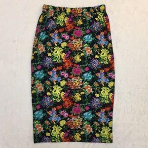Stretchy Pencil Skirt Black w/ Neon Floral L/XL